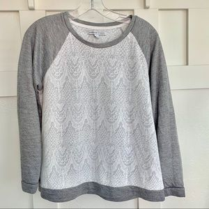Adrienne Vittadini Gray Lace Fashion Sweatshirt